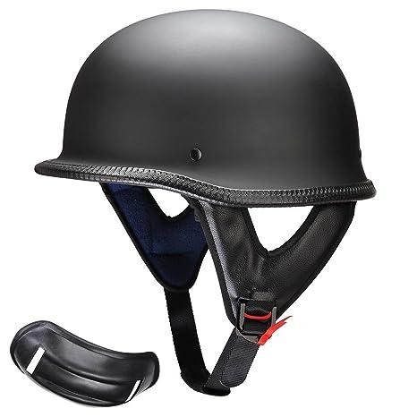 d198bd61749 Amazon.com  AHR DOT German Style Motorcycle Half Helmet Open Face Cruiser  Chopper Biker Skull Cap Helmet Black M  Automotive