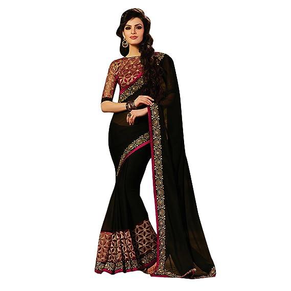 7c99141683 Craftsvilla Womens Georgette Resham Embroidery Saree Designer Black Color  with Blouse Piece