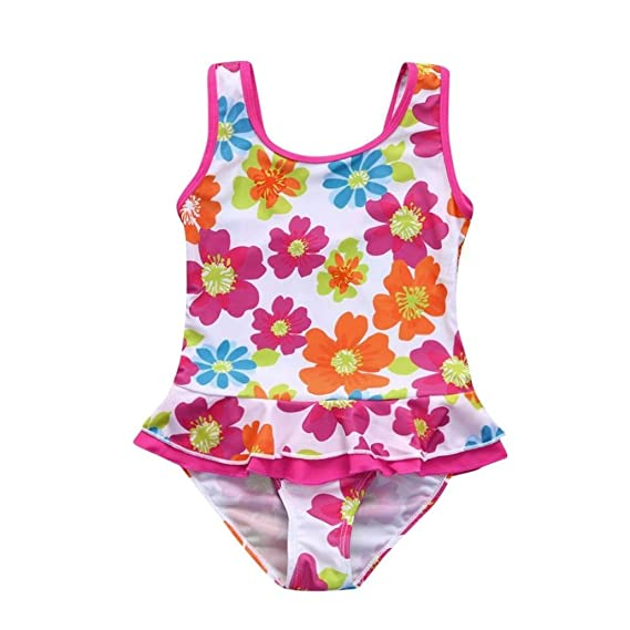 Iuhan Baby Girls Swimsuit Infant Flower Ruffles Dress Swimsuit Swimwear One Piece