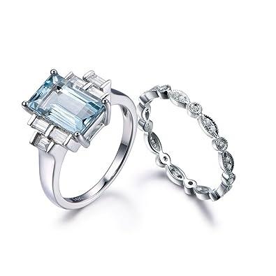 2pcs Aquamarine Wedding Ring Set,6x11mm Emerald Cut Blue Stone Engagement  Eternity Diamond Matching Band