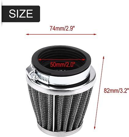 42mm Filtro de aire Terisass Limpiador del filtro de aire de la motocicleta Reemplazo del kit de inducci/ón del filtro de aire de admisi/ón modificado para Yamaha Universal