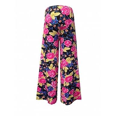 25f62c3966143 Women's Maternity Rose Print Palazzo Trousers - Black/Pink Pattern ...