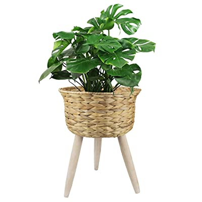 Basket Planter Plant Pot - 11.8 Inch Large Indoor Natural Water Hyacinth Decorative Flower Pot with Stand : Garden & Outdoor
