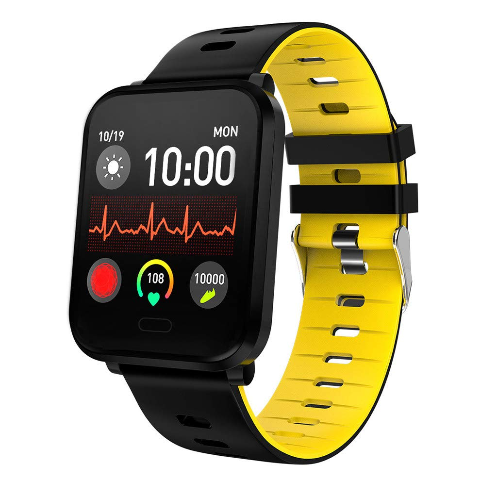 for Android iOS, Sport Smart Watch, Fitness Calorie Heart Rate Monitoring, Remote Photography Smart Bracelet (Yellow)