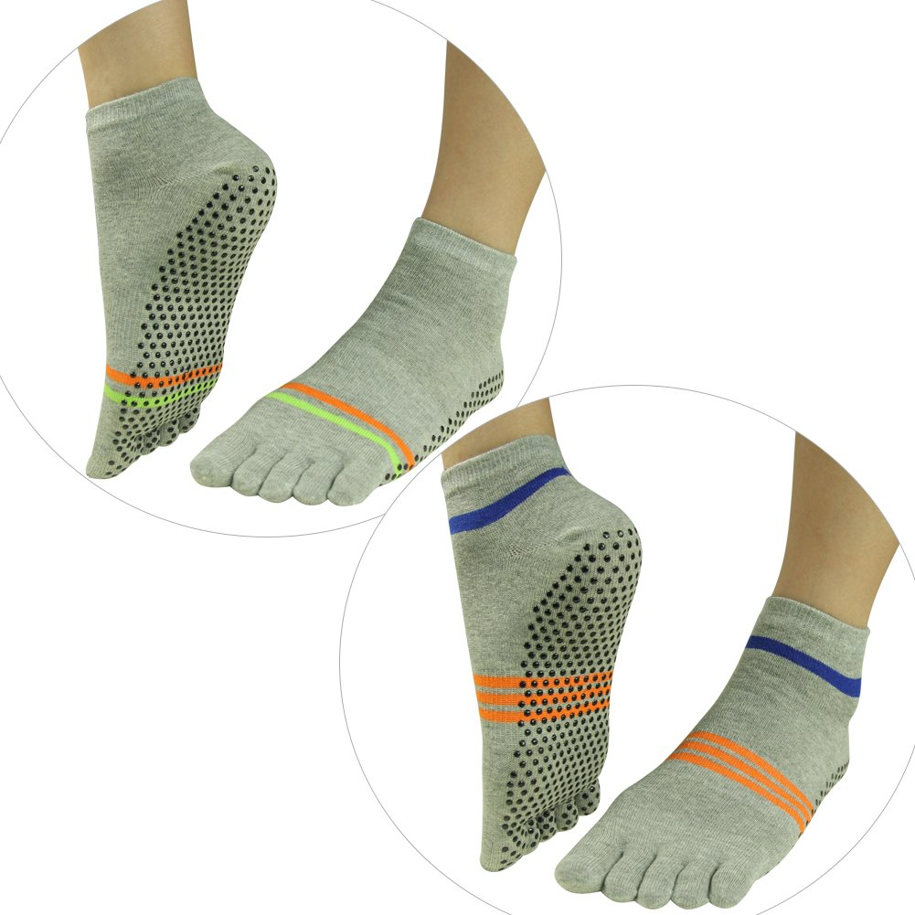 Non Slip Yoga Socks, J'colour Unisex Pilates Barre Gripes Ankle Sports Athletic Non Slip Cotton Yoga Socks Stripe Patterns Solid Colors J20160261245