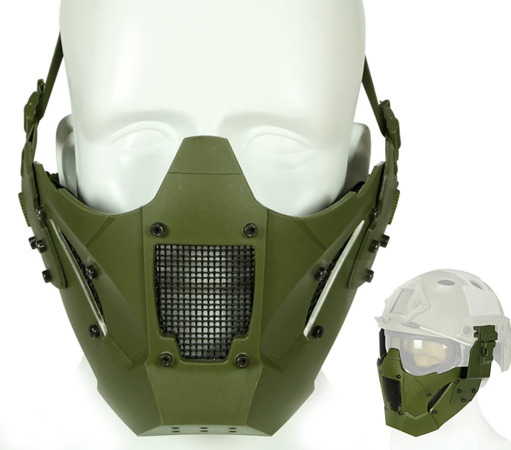 ATAIRSOFT Tactical Half Face Máscara de Malla Fit Riel de Casco rápido para Airsoft Hunting Paintball CS Juego BB Disparos con Pistola