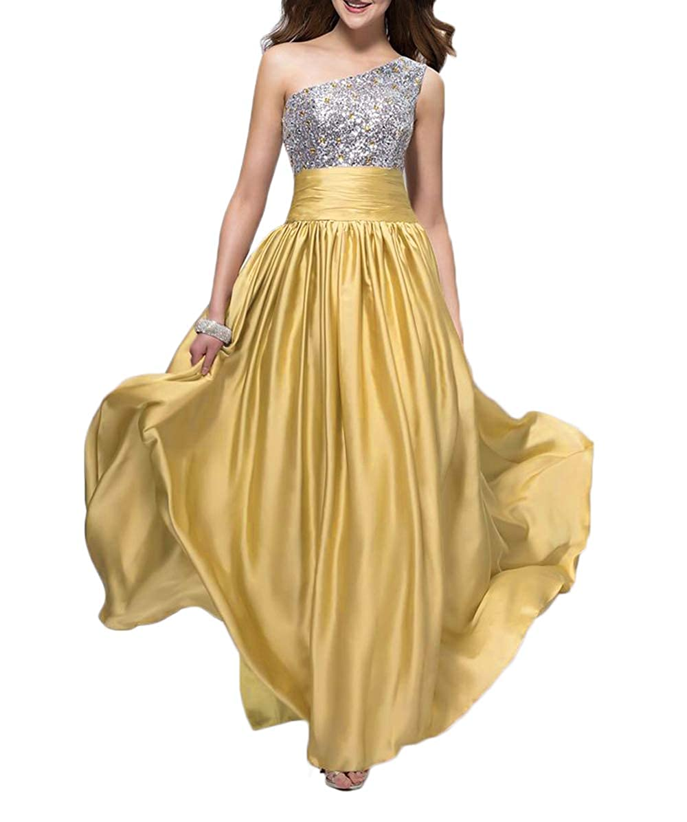 gold alilith.Z Bling Bling Crystals Sequins Prom Dresses 2019 Long Sexy One Shoulder Satin Evening Dresses Party Gowns for Women