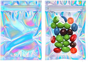 Cherodada 5.5x7.8 inch 100 Pcs Smell Proof Bags Resealable Holographic Ziplock Bag Food Safe Storage Bags