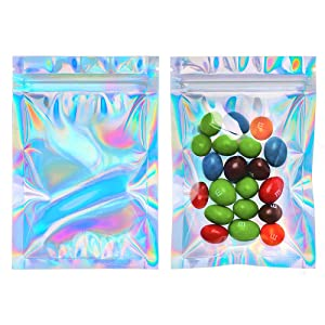 Cherodada 3x4 inch 100 Smell Proof Bags Resealable Foil Pouches Holographic Color Foil Ziplock Bags