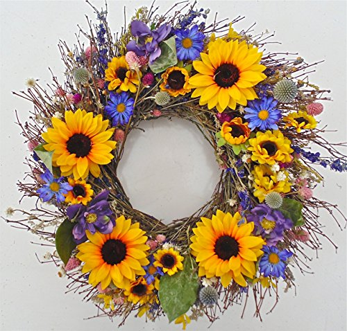 Ossabaw Silk Sunflower Floral Spring Wreath 22 in