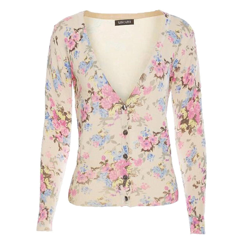 Female's slim flower printing V-neck short cardigan sweater