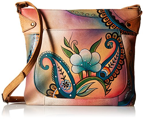 (Anna by Anuschka Genuine Leather Convertible Tote | Hand-Painted Original Artwork | Floral Paisley)