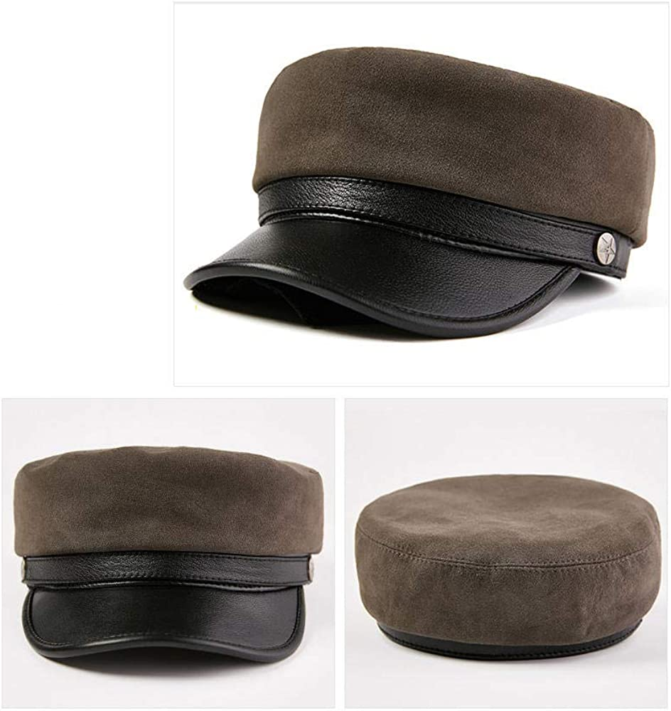 55-56cm Mens Flat Cap GJPSXTTY Autumn and Winter Leather Hat Sheepskin Velvet British Middle-Aged Cap,Green,L