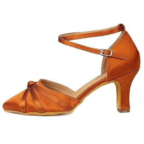 372fe84ed1 SWDZM Chaussures de Danse Femme Standard Latin Jazz Ballet Chaussures Satin  Model-FR-DC