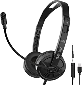 USB Headset/3.5mm Computer Headset with Microphone Noise Cancelling, Comfort-fit Office Computer Headphone, On-Ear 3.5mm Jack Call Center Headset for Cellphone, for Webinar, Office, Classroom or Home