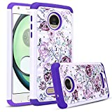 Moto Z Play Case, DONWELL Rhinestone Crystal Bling Hybrid Shockproof Dual Layer Rubber Plastic Impact Defender Rugged Slim Hard Case Cover Shell for Moto Z Play Droid (White&Purple) For Sale