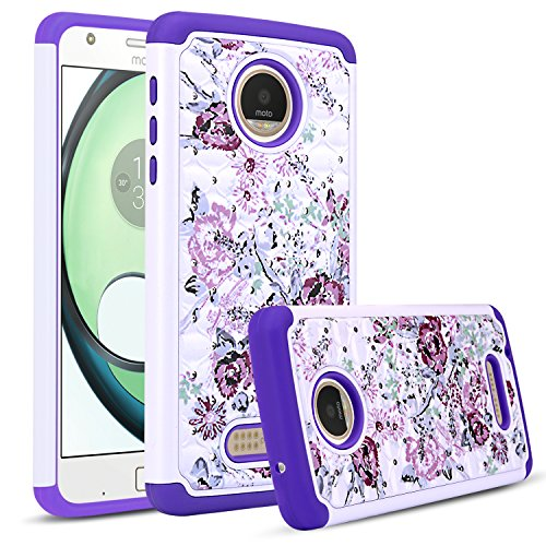 Moto Z Play Case, DONWELL Rhinestone Crystal Bling Hybrid Shockproof Dual Layer Rubber Plastic Impact Defender Rugged Slim Hard Case Cover Shell for Moto Z Play Droid (White&Purple)