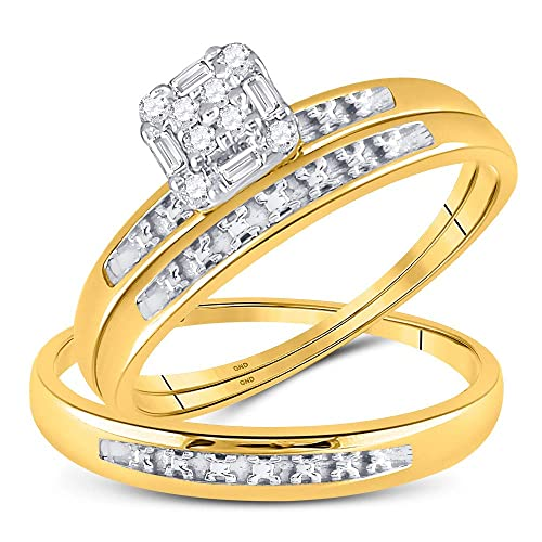 Juego de anillos de boda de oro amarillo de 10 quilates con ...