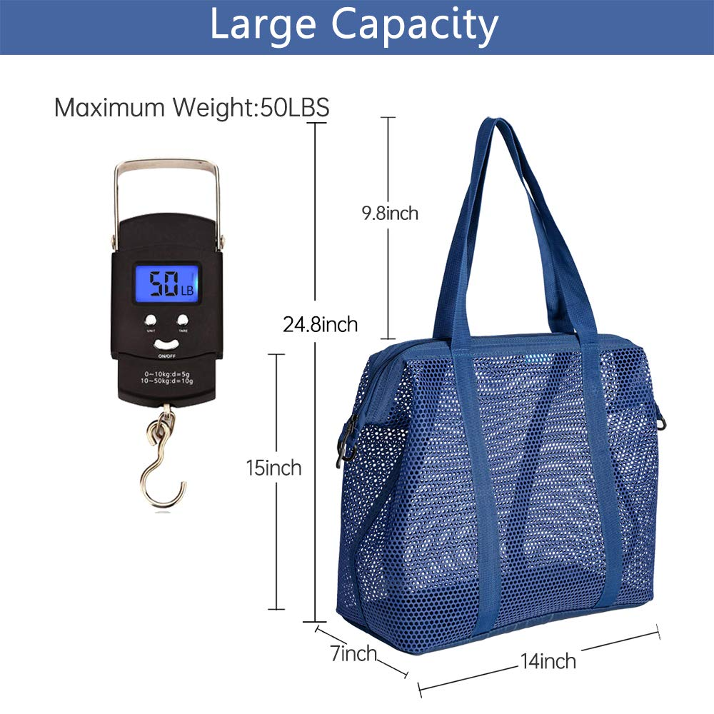 24 Liters for Beach Gym Picnic Traveling Shopping 14 X 15 X 7 Automatic Opening and Inner Bag Blue Large Mesh Beach Tote Bag with Durable Zipper