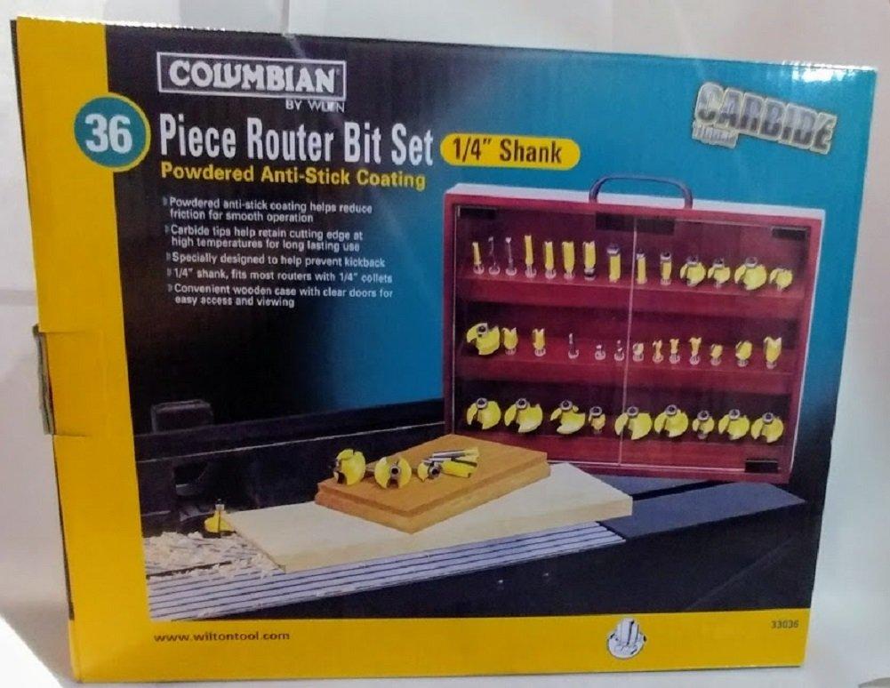 Columbian by Wilton 36 Piece Carbide Tipped Router Bit Set 1/4'' Shank