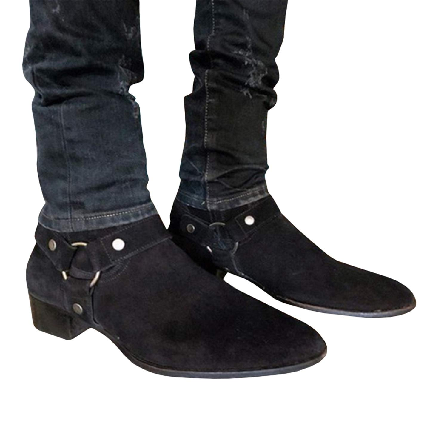 ed887b402f9 Amazon.com   Syktkmx Mens Harness Boots Mid Calf Ankle Strap Chunky ...