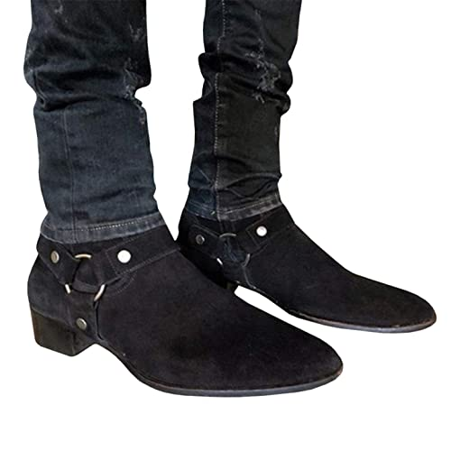 b9bef282fc9 Amazon.com | Syktkmx Mens Harness Boots Mid Calf Ankle Strap Chunky ...