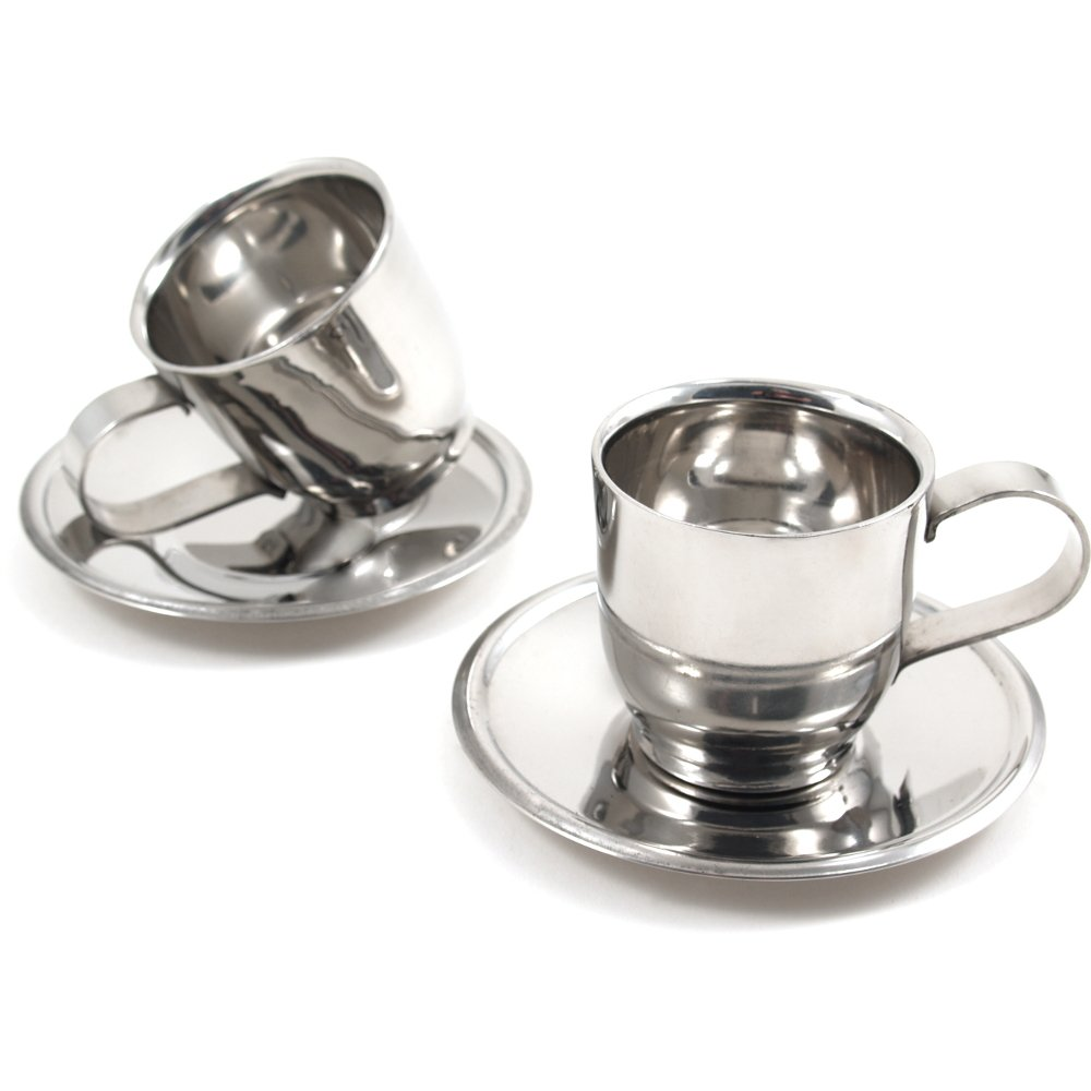 Stainless Steel Double Espresso Cup and Saucer Set, Service for 2