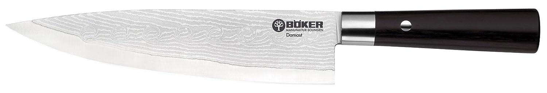 Böker Damast Griff schwarz, Griffmaterial: Schichtholz,Klingenlänge in cm: 21,2  Kochmesser, 130421DAM