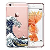 Unov Case Clear with Design Embossed Pattern Soft TPU Bumper Shock Absorption Slim Protective Cover for iPhone 6s iPhone 6 4.7 inch(Great Wave)
