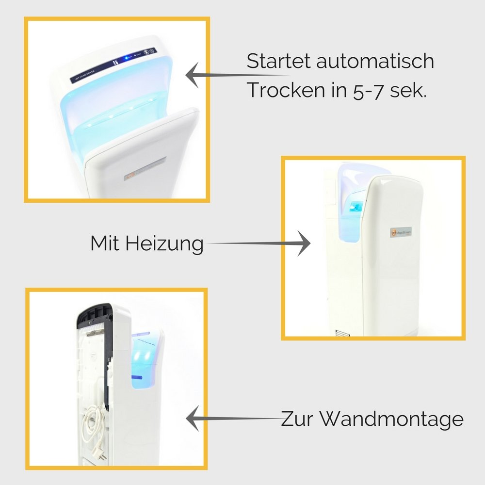 Magic Stream asciugatore elettrico per mani asciutte in 5/ /7/secondi 1.900/Watt senza contatto con sensore
