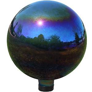 Sunnydaze Gazing Globe Glass Mirror Ball, 10-Inch, Stainless Steel Rainbow