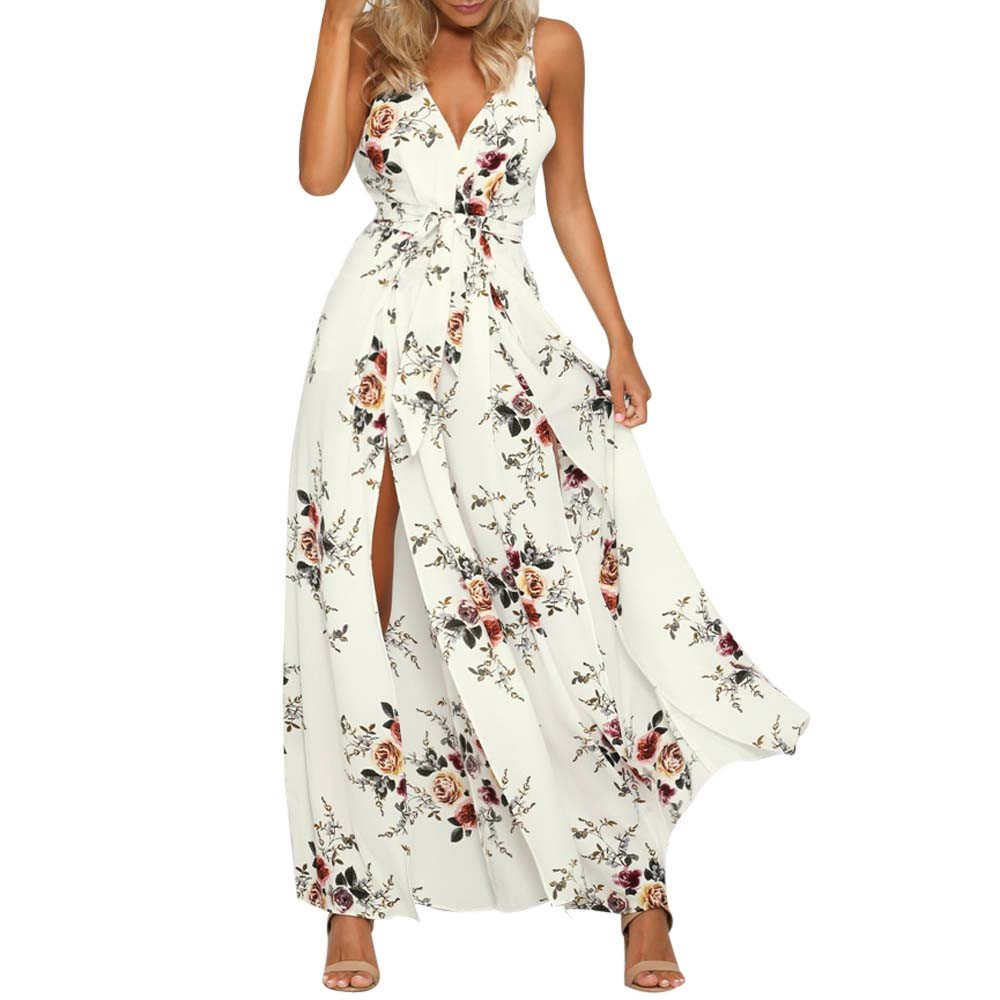 Floral Jumpsuits for Women Boho Backless V Neck Spaghetti Strap Side Slit Wide Leg Romper Beach Playsuits