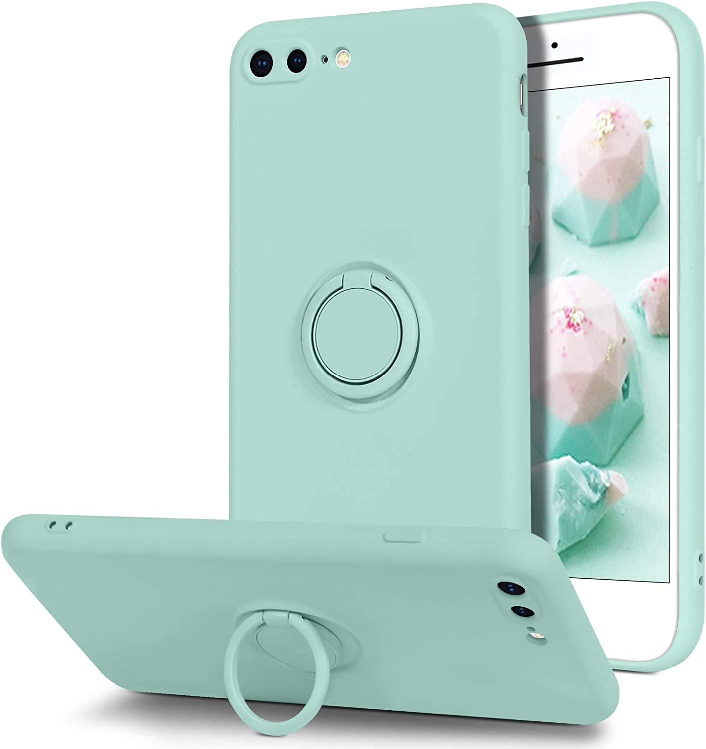 BENTOBEN iPhone 8 Plus Case, iPhone 7 Plus Case, Slim Silicone Soft Rubber with 360° Ring Holder Kickstand Car Mount Supported Protective Cases for iPhone 8 Plus/iPhone 7 Plus 5.5 Inch, Mint Green
