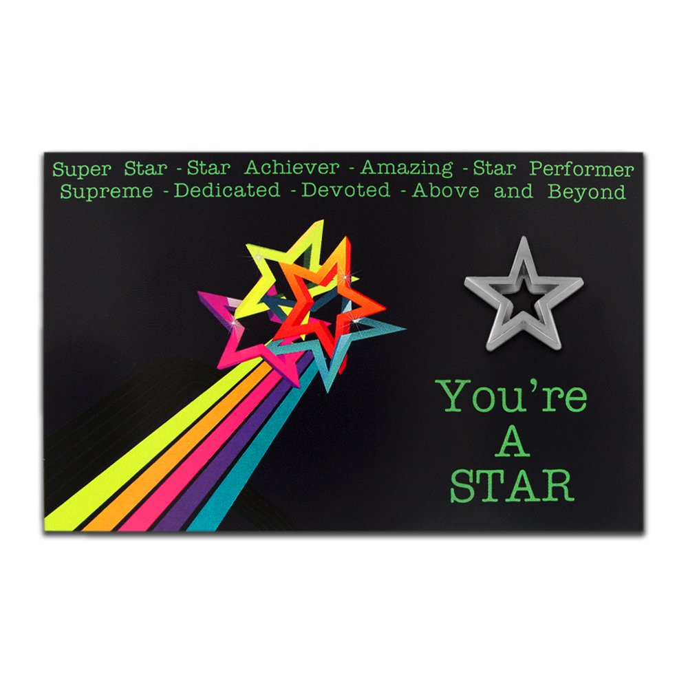 PinMart's You're A Star Presentation Card with Silver Star Lapel Pin