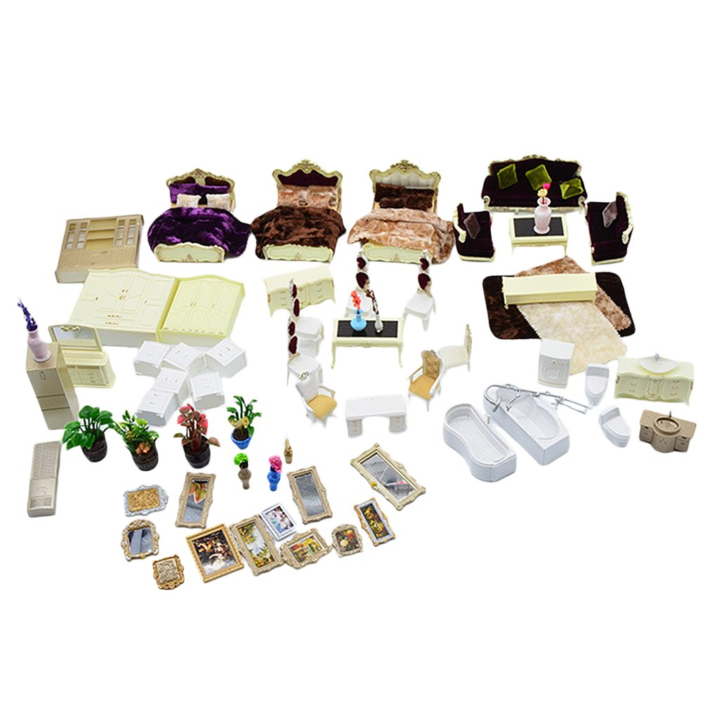 MonkeyJack Miniatures European Style Family House Funiture Model Set 1/25 Home Decoration Gift DIY Dollhouse White