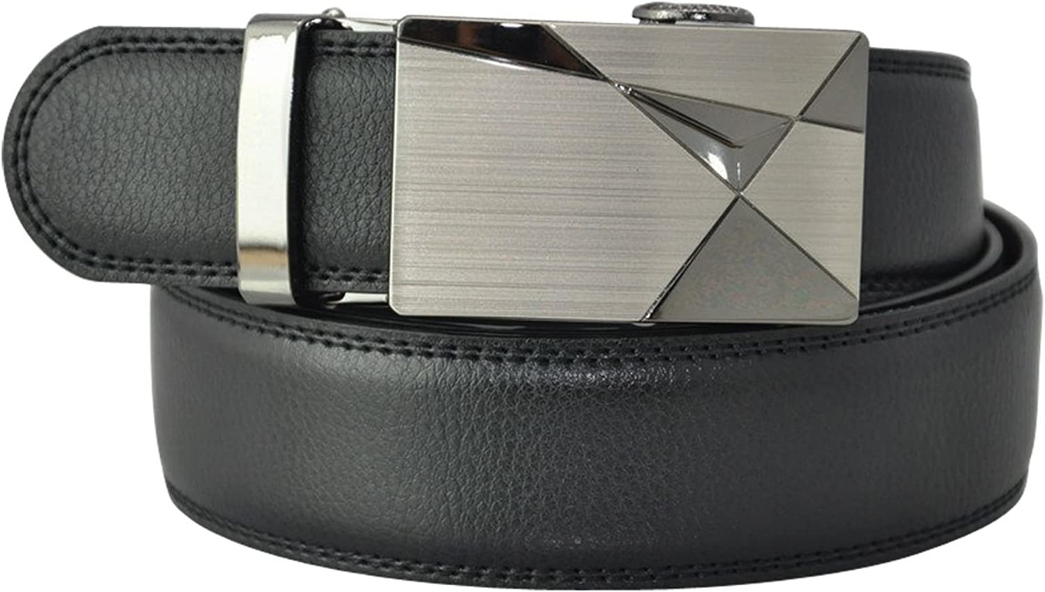 E-Clover Mens Black Leather Automatic Buckle Ratchet Belt