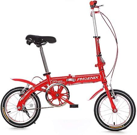 DT Bicicleta roja de 14 Pulgadas portátil Plegable Estilo de Dama de Bicicleta para Hombre Estudiante Masculino Coche niños Freno Mini Disco 11 kg Paquete de Regalo Ultra Ligero: Amazon.es: Hogar