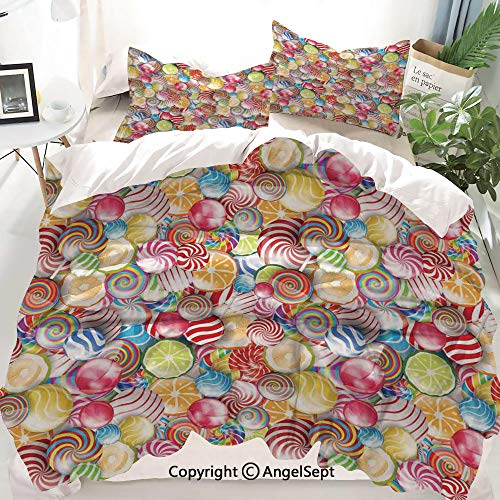 Colorful Home Decor Decor Duvet Cover Set King Size,Spiral Sugar Candy Sweets Lolly Pops Dessert Fun Girls Kids Nursery Theme,Decorative 3 Piece Bedding Set with 2 Pillow Shams