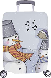 Greeting Christmas Card Two Snowman Bird Pattern Spandex Trolley Case Travel Luggage Protector Suitcase Cover 28.5 X 20.5 inch