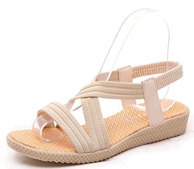 0626502ea283 Femaroly Women s Sandals Summer Simple Flat Solid Elastic Roman Sandals for  Women and Girls 1323Beige 5.5