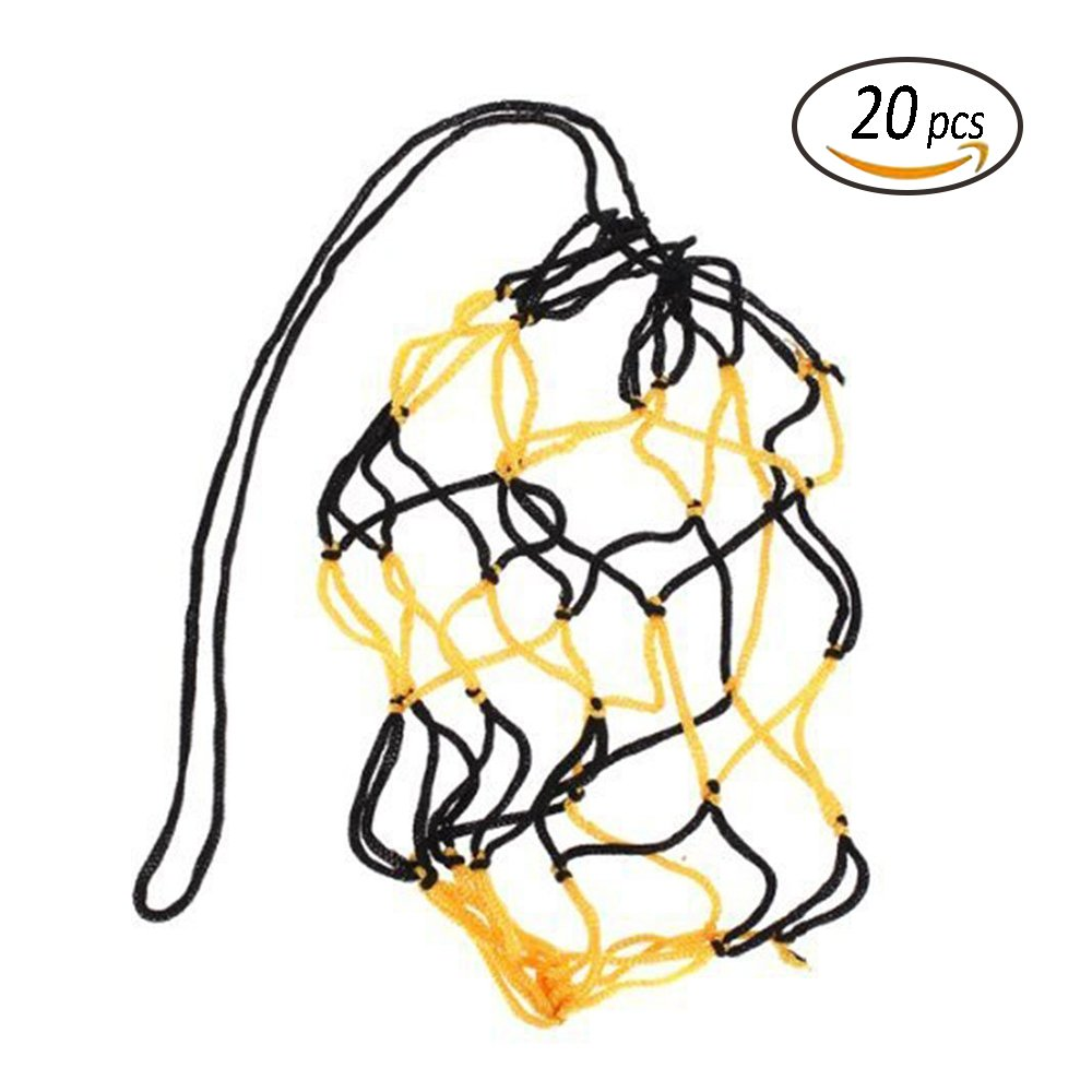 stonges baloncesto fútbol neto bolsillo de grosor negro y amarillo bola de malla bolsa de nailon