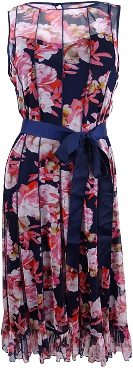 Jessica Howard Women/'s Pintucked Floral-Print Dress