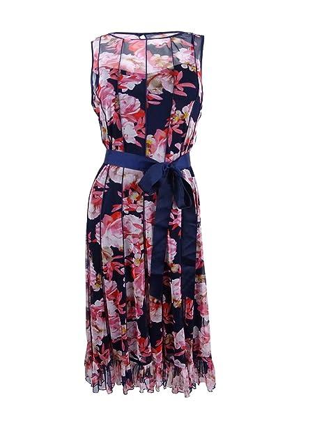 54566860db5c6 Jessica Howard Women's Pintucked Floral-Print Sash Dress (8, Navy ...