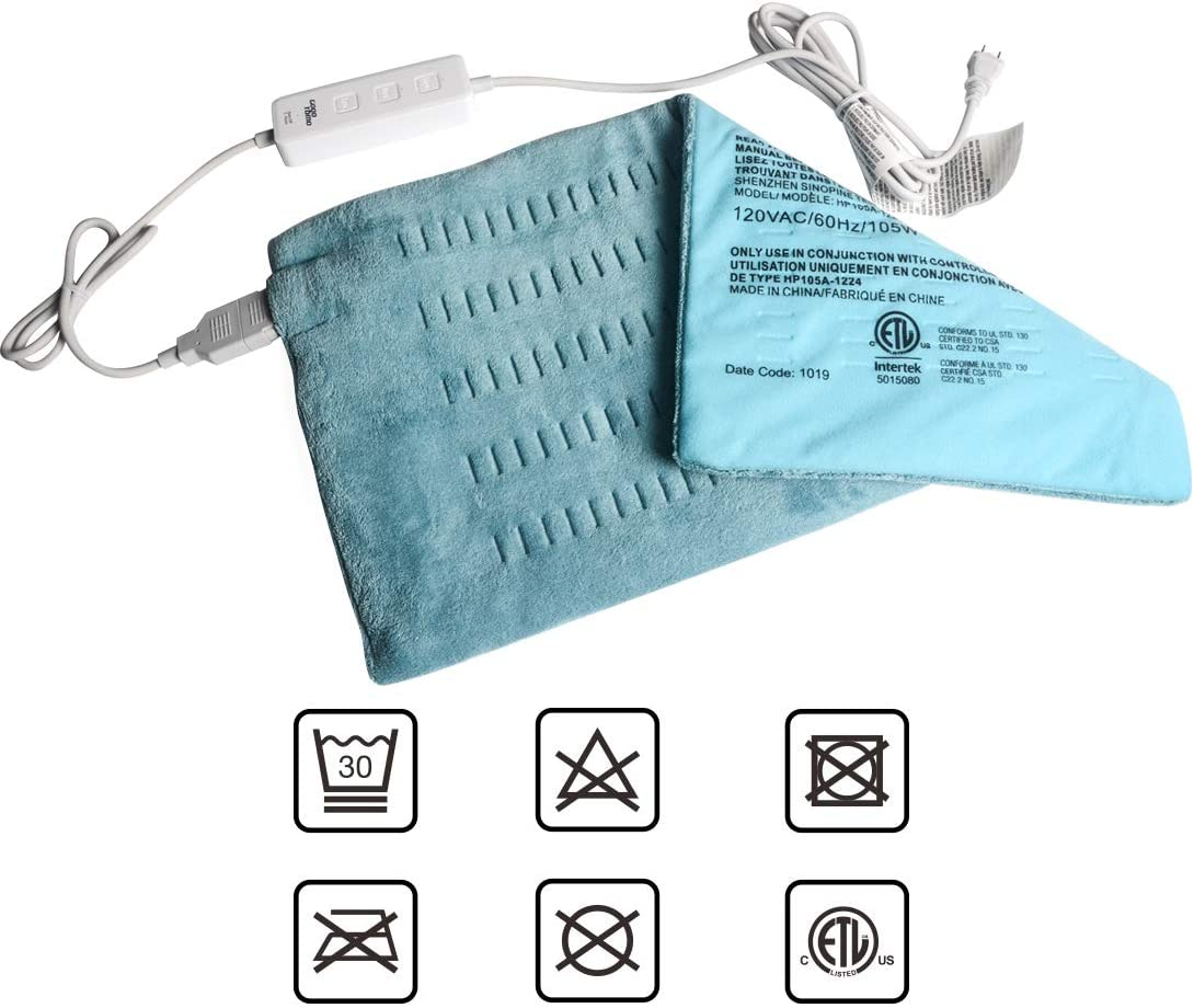 """King Size Heating Pad for Back/Waist/Abdomen/Shoulder Pain Relief- 12"""" x 24"""" Moist and Dry Heat Therapy with Auto-Off Hot Heated Pad by GOQOTOMO-HG002"""
