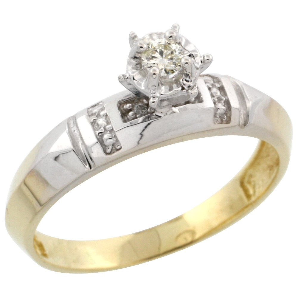 5//32 inch wide Gold Plated Sterling Silver Diamond Engagement Ring