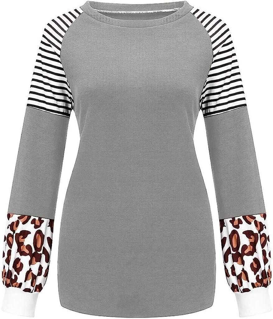 KIMODO Womens Leopard Printed Long Lantern Sleeve Stripe Patchwork Tops Waffle Plaid Color Block Blouse Pullover Sweatshirt