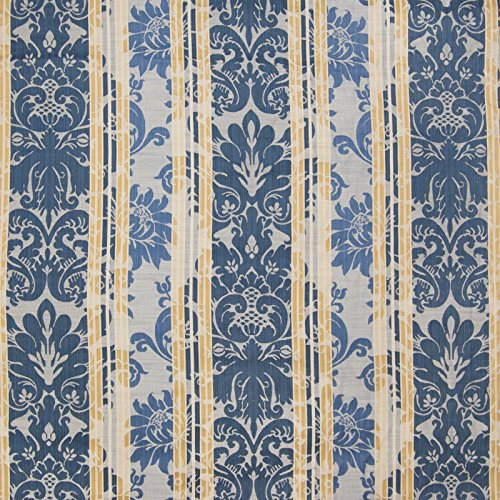 Lakeland Blue Floral Stripe Damask Scroll Jacquard Upholstery Fabric by the yard (Stripe Damask Upholstery)