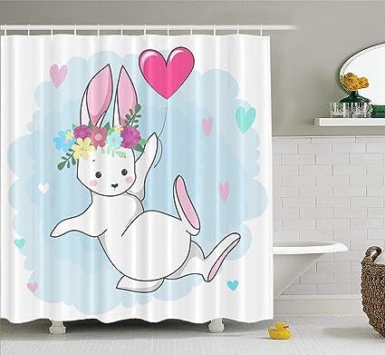 Children S Bathroom Shower Curtains.Amazon Com Lilymua Fabric Shower Curtain Cute White