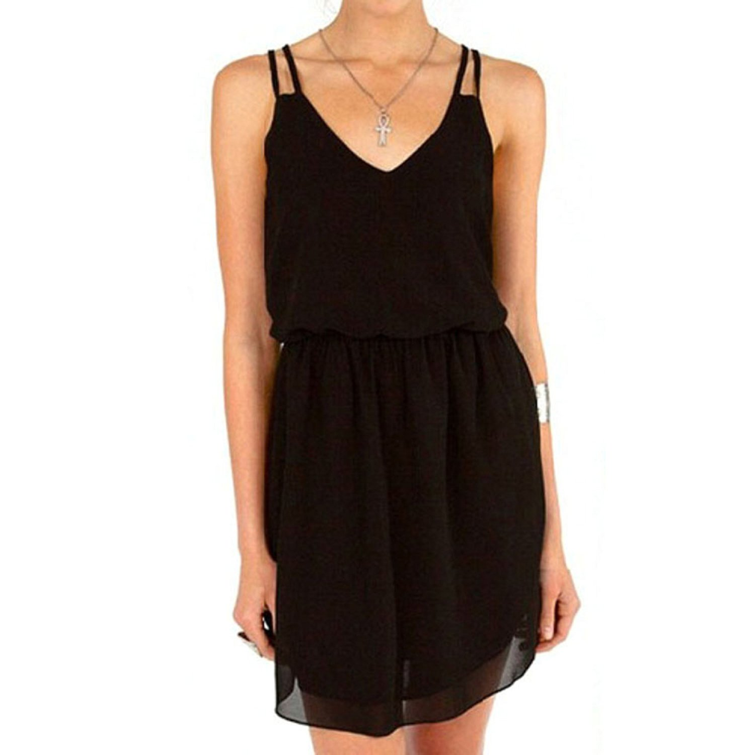 Aokdis Women Lady Summer Sexy Chiffon Casual Party Evening Cocktail Dress (L, black)