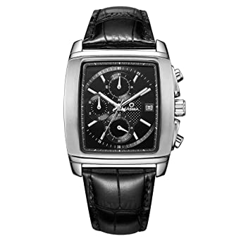 CASIMA Mens Multifunction Square Shape Waterproof Leather Band Quartz Wrist Watches 5115-SL7